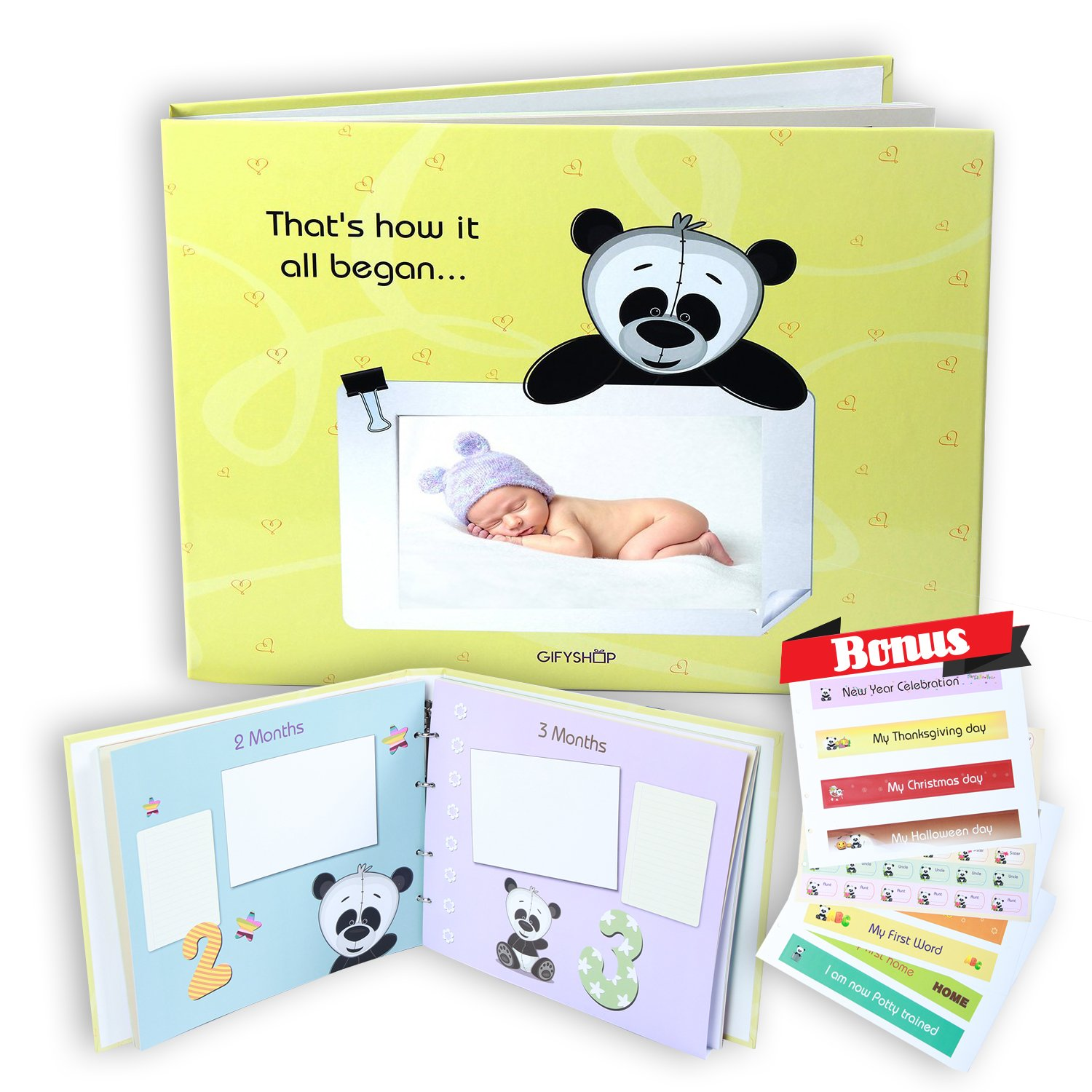 First 5 Years Baby Memory Book, Unisex – Album Record Photo with Memories Stickers, Yellow. GifyShop