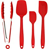 ZesGood Silicone Spatula Set Silicone Kitchen Utensils, 1× Barbecue Tongs, 2×Heat-Resistant Spatulas and 1×Baking Spoon