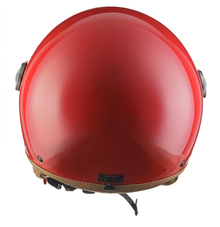 Visor /· incl Cloth Bag /· Red /· XL SOXON SP-325-MONO Red /· Biker Bobber Pilot Vespa-Helmet Jet-Helmet Scooter-Helmet Cruiser Chopper Mofa Moto-Helmet Retro Vintage /· ECE certified /· incl 61-62cm