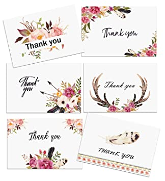 amazon com boho spirit thank you cards 24 pack floral flower