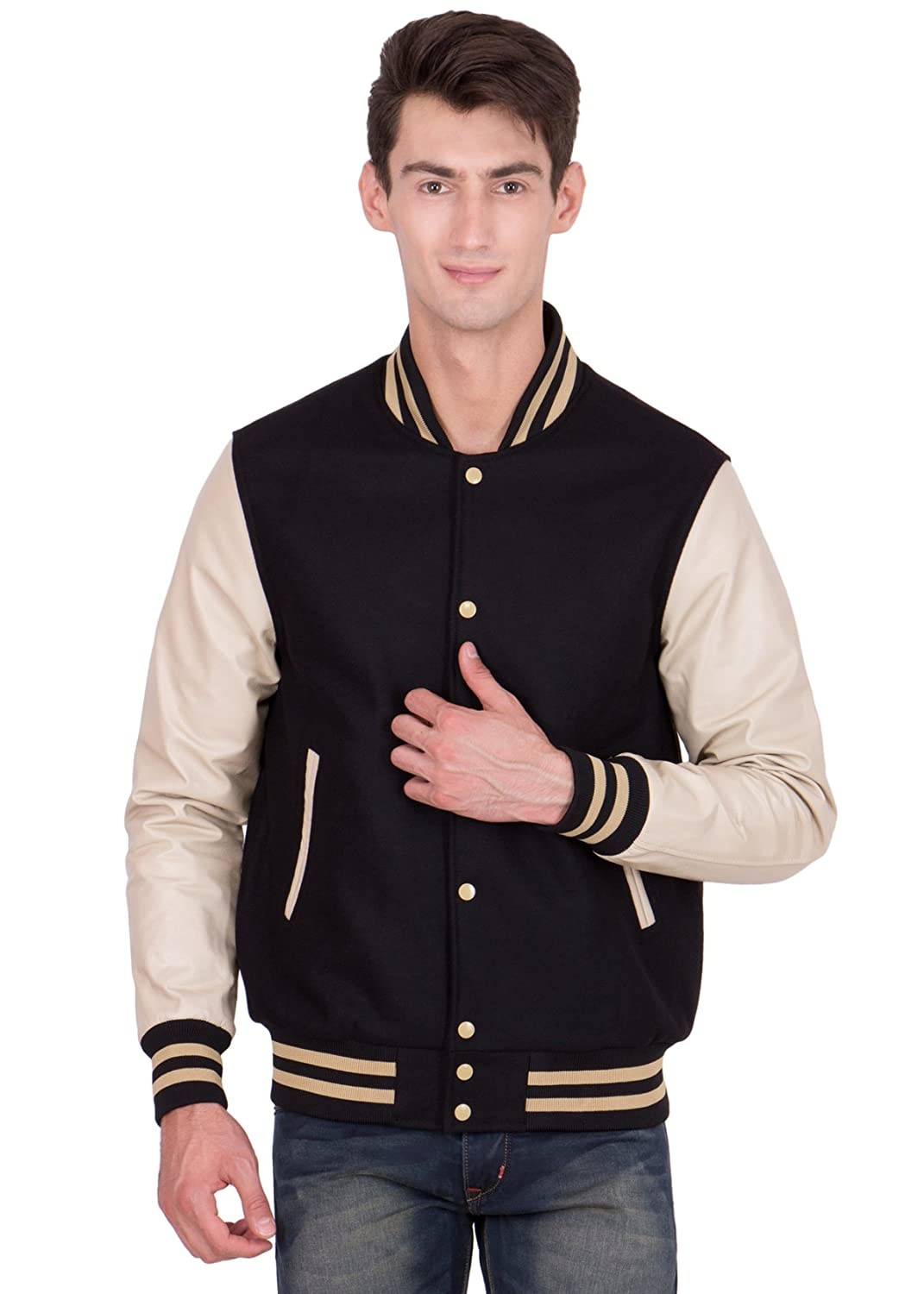 Caliber Apparels Vegas Gold Leather Sleeves & Black Wool Body Varsity Jacket-Men L CAPL302L