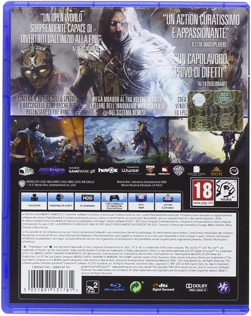 Warner Bros Middle-earth: Shadow of Mordor, GOTY, PS4 Game of the ...
