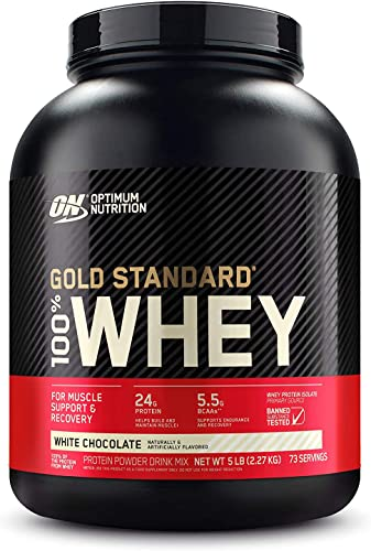Optimum Nutrition Gold Standard 100 Whey Protein Powder, White Chocolate, 5 Pound Packaging May Vary
