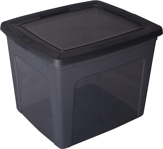 Caja de almacenamiento, caja de almacenaje, caja plastico Gris, caja con tapa, caja organizadora, caja apilable 30 litros - 30 Litros: Amazon.es: Hogar
