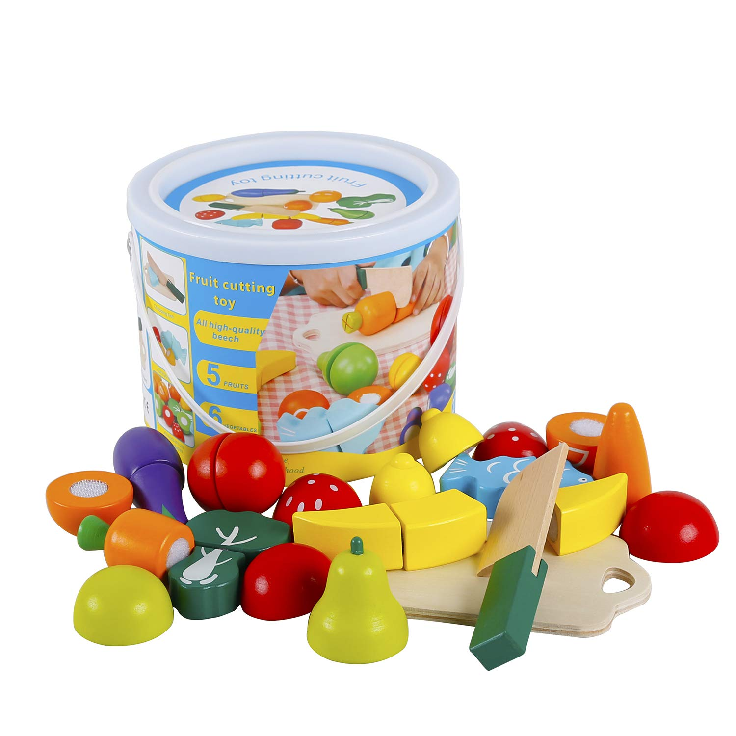omyzam Play Food for Children Toy Food Sets Wooden Toys Vegetables and Fruits Cutting Set Wooden Kitchen Play Food Educational Toys Pretend Play Food Sets for Kids Boys Girls for Children's Day gifts