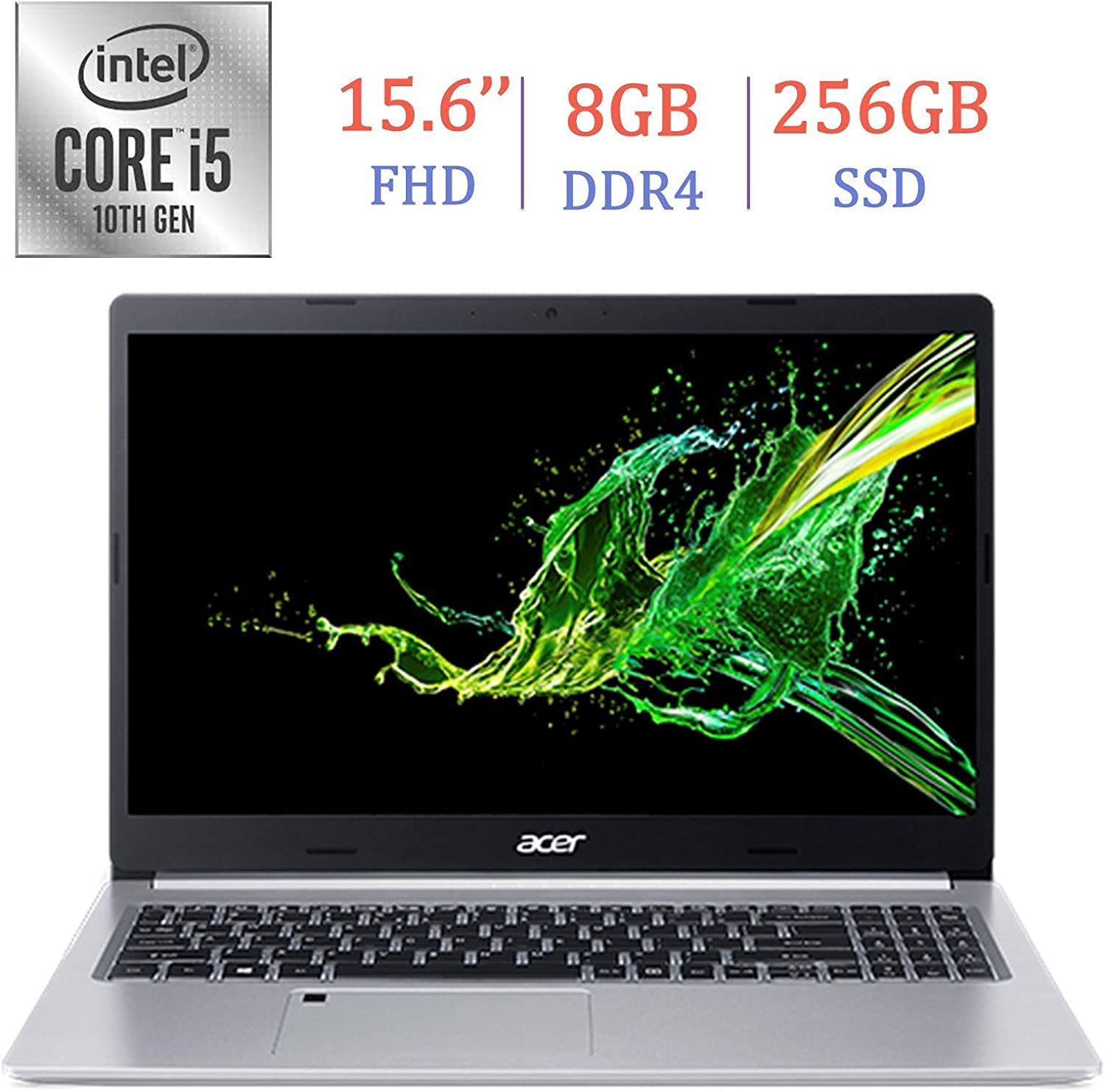 Acer Premium Aspire 5 A515 15.6-inch FHD (1920x1080) Laptop PC, 10th Gen Quad-Core Intel i5-10210U up to 4.2GHz, 8GB DDR4, 256GB SSD, Stereo Speakers, Intel UHD Graphics 620, Windows 10 Home (Renewed)