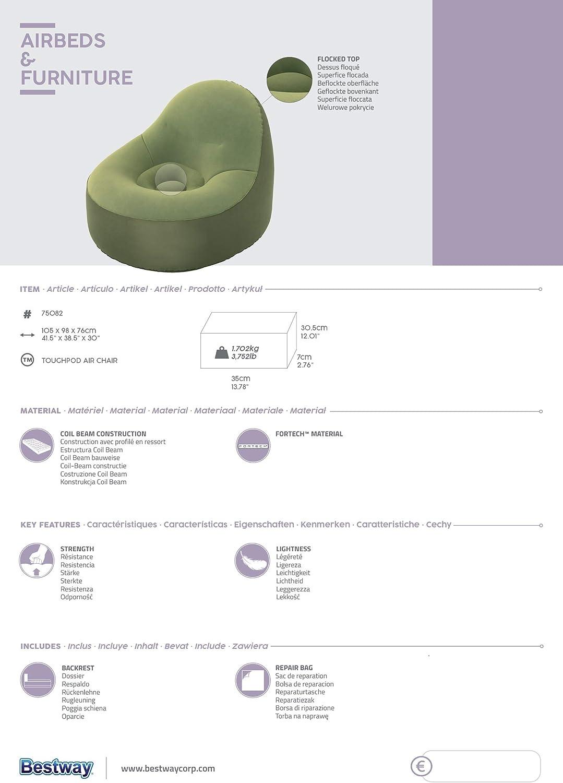 Verde Poltrona Gonfiabile ToughPod Bestway 75082 105X98X76 cm