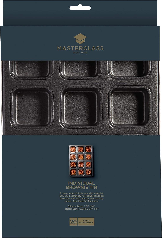 Master Class Antihaft-Brownie-Backform mit Mulden Grau Stahl 26 x 34 x 3 cm