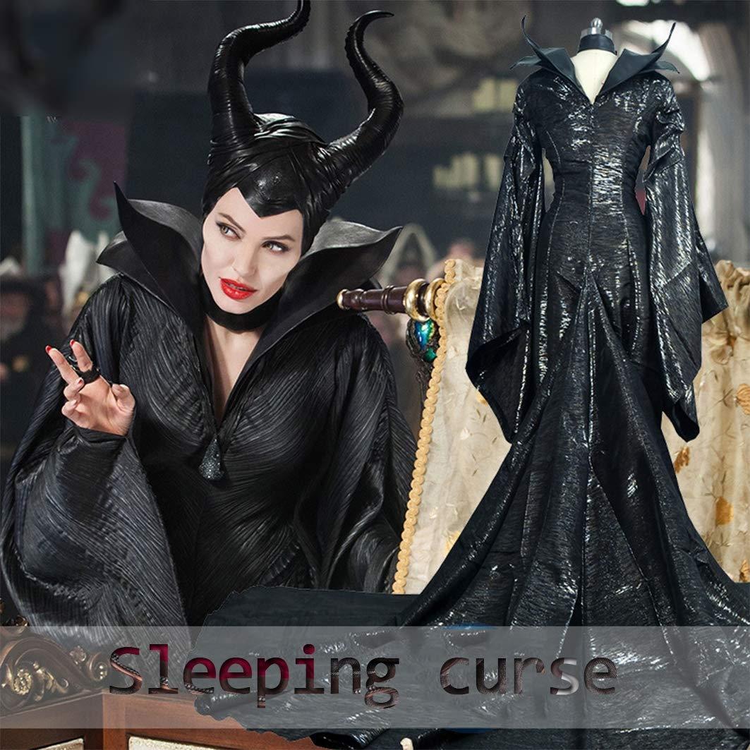 DuHLi Película Maléfica Bruja Negra Angelina Jolie Princesa Maléfica Cosplay Disfraz Canraval Disfraz de Halloween Maléfica Cuerno