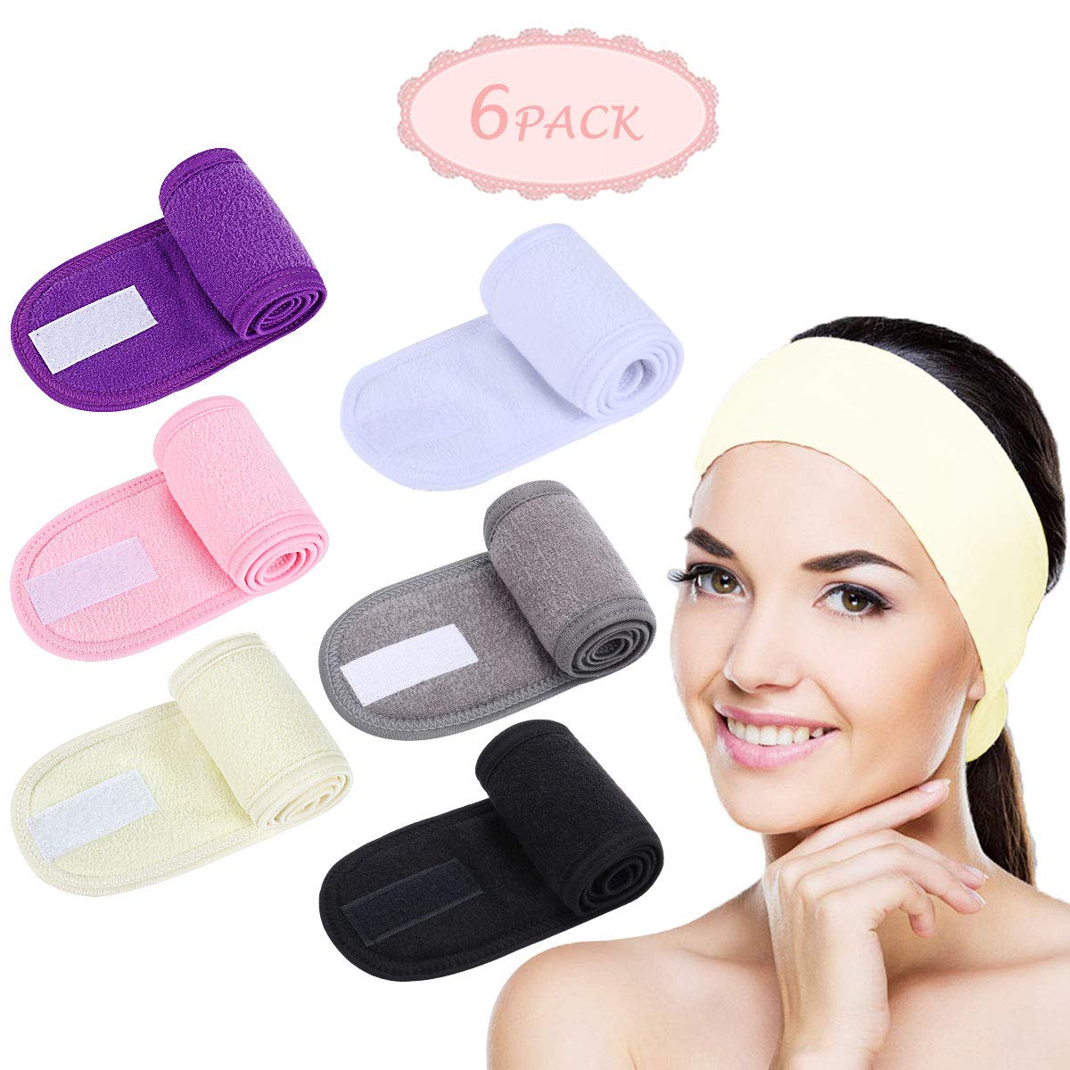 Facial Spa Headband - 2 Pcs Makeup Shower Bath Wrap Sport Headband Terry Cloth Adjustable Stretch Towel with Magic Tape