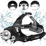 LED Head Torch Headlight. 5 Super Bright T6 Bulb Headlamp. Comfortable, Lightweight and Water resistant. Ideal for Running, Dog Walking, Fishing, Camping and Reading. Rechargeable Batteries Included