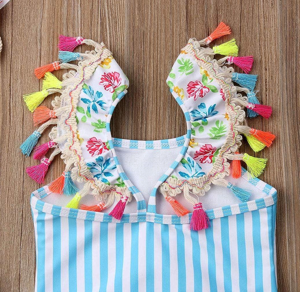 Toddler Baby Kid Girls Swimwear Tassel Striped Flame Bird Swimsuit Beach Wear Bathing Suit