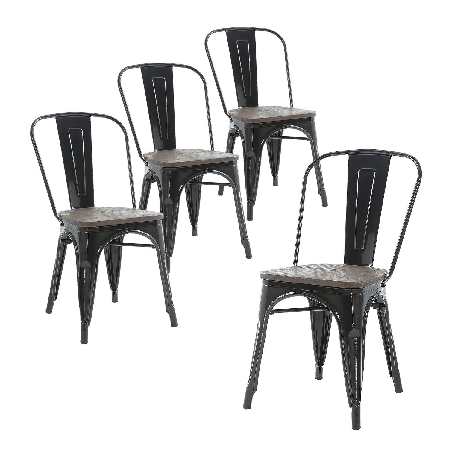 Buschman Set of Four Black Wooden Seat Metal Indoor/Outdoor Stackable Chairs with Back