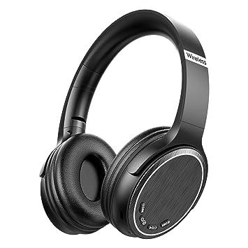 Cascos Bluetooth Inalámbrico, Macrourt Auriculares Bluetooth Cerrados de Diadema Plegable con Sonido Estéreo Bluetooth 5.0 TF Cancelación de Ruido ...