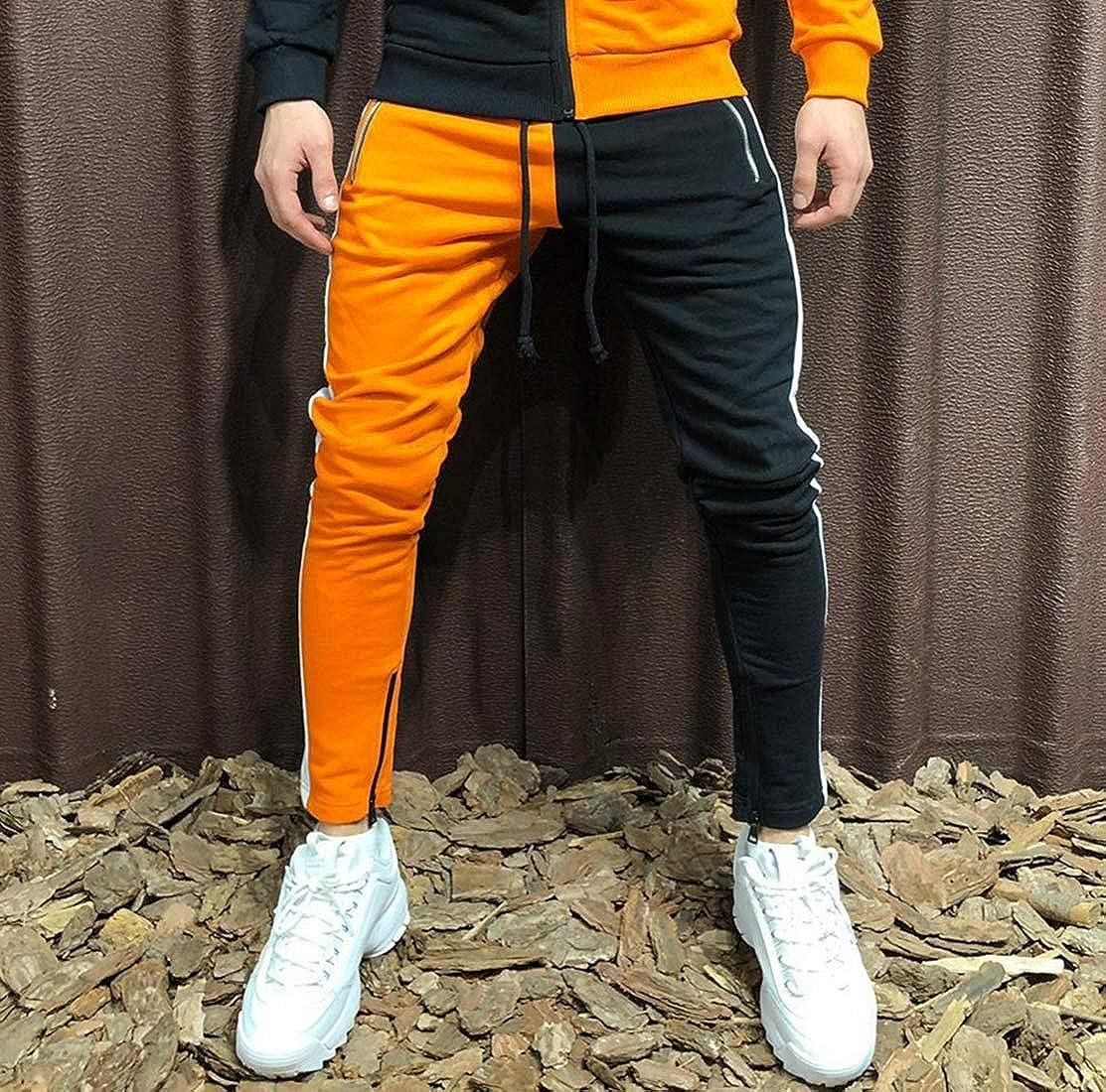 Mens Athletic Tracksuit Sets Full Zip Color Contrast Jogging Sweatsuits Activewear Top