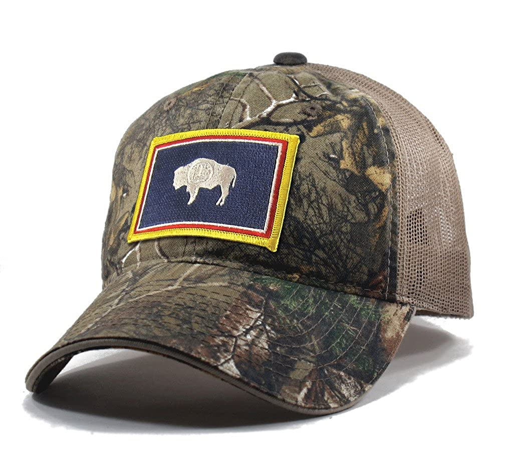 Homeland Tees Men's Wyoming Flag Patch Camo Trucker Hat