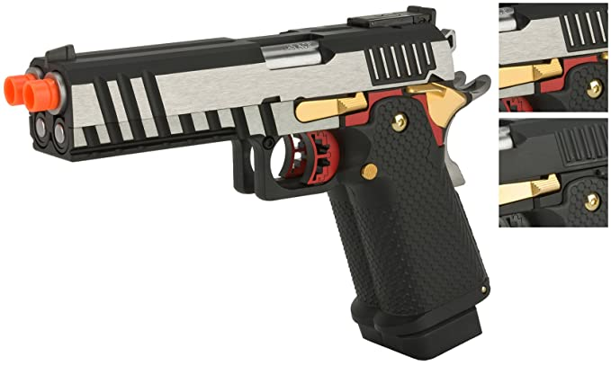 Evike AW Custom Double Barrel Hi-Capa Gas Blowback Airsoft Pistol - AX-HX2101 (Two-Tone) and AX-HX2102 (Black)