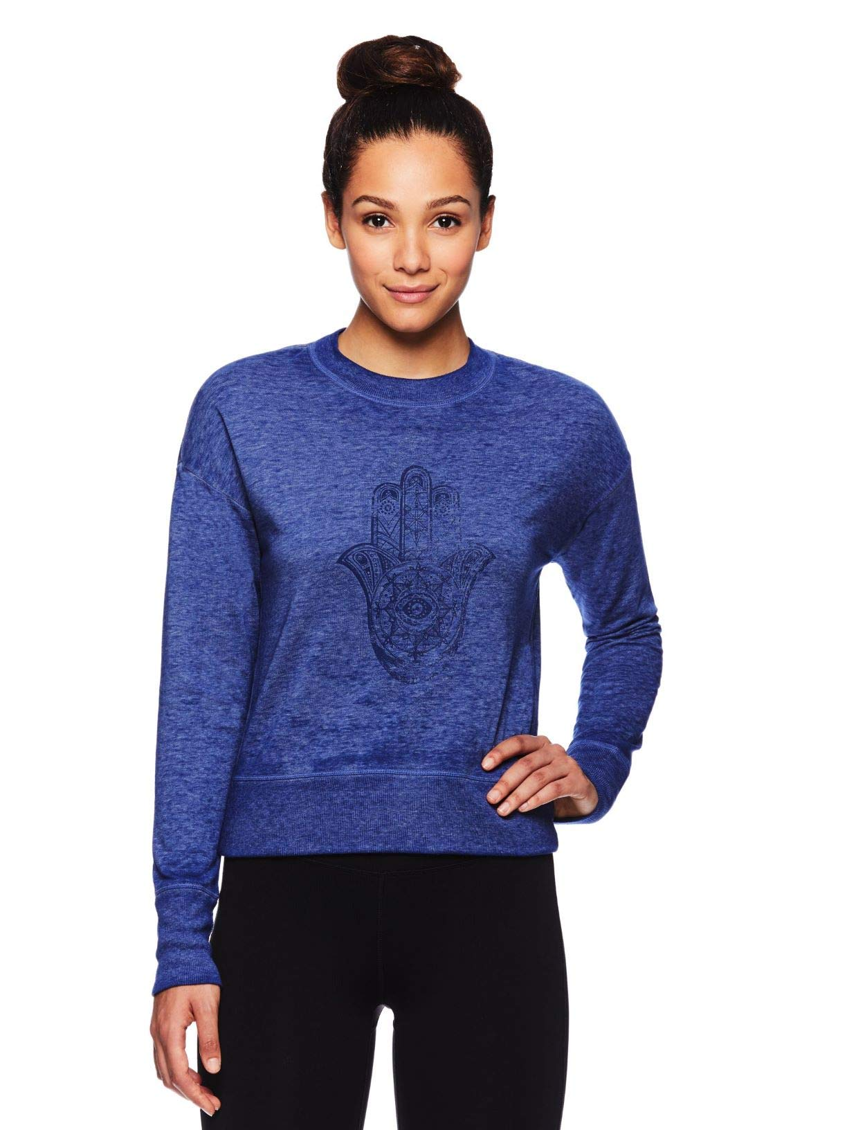 Gaiam Women's Pullover Fleece Yoga Sweatshirt - Long Sleeve Graphic Activewear Sweater - Medieval Blue, X-Large by Gaiam