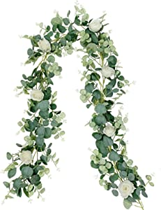 LAPONEE Artificial Eucalyptus Garland - 6.56Ft Long Faux Silver Dollar Garland Wedding Backdrop Arch Wall Decor - Faux Eucalyptus Leaves Garland Table Party Decoration (Eucalyptus Garland - 7 Flowers)