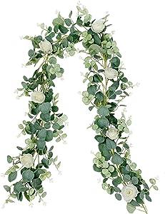 LAPONEE Artificial Eucalyptus Garland - 6.56Ft Long Faux Silver Dollar Garland Wedding Backdrop Arch Wall Decor - Faux Eucalyptus Leaves Garland Table Party Decoration (Eucalyptus Garland - 7 Flowers)