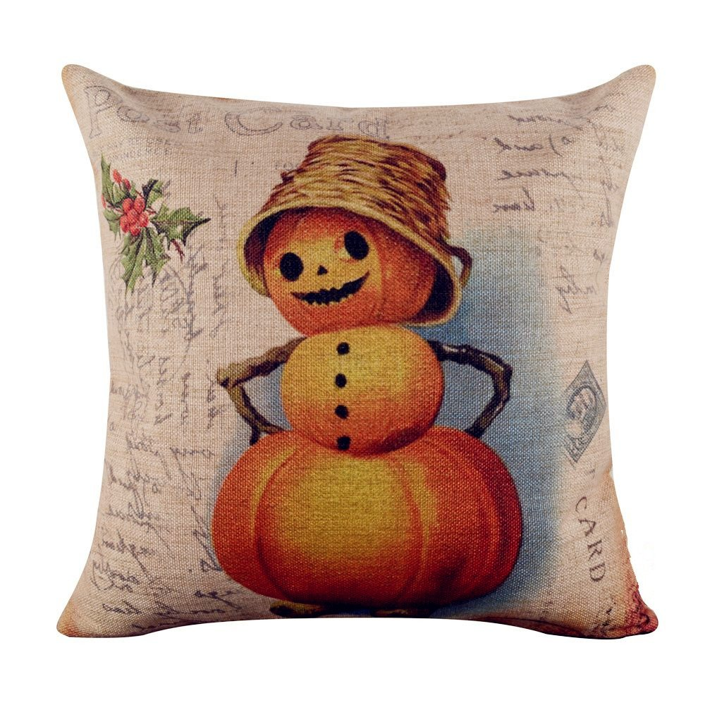Acelive 16 X 16 Inches Watercolor Autumn Pumpkin Super Soft Throw Pillow Case Cushion Cover Home Decor for All Saints' Day Gifts Thanksgiving Day Gifts New Year's Gifts
