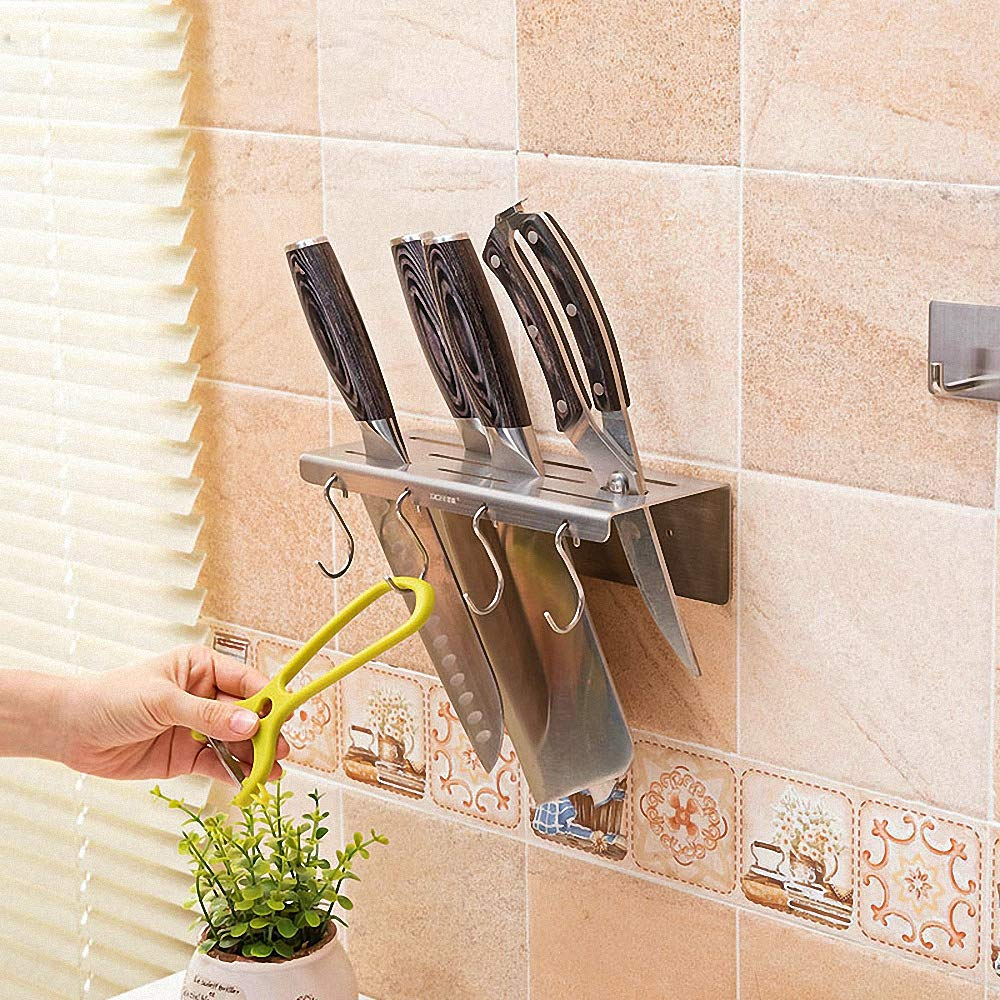 Wall Mounted Knife Rack Small Stainless Steel Knife Holder with 4 Hooks Kitchen Storage Organizer