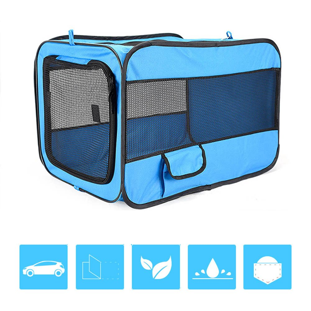 bluee LGossipboy Portable Pet Bag Oxford Folding Box Pet Cage Pet Carrier for Cats and Dogs Travel Transport Size S M L (L, blueE)