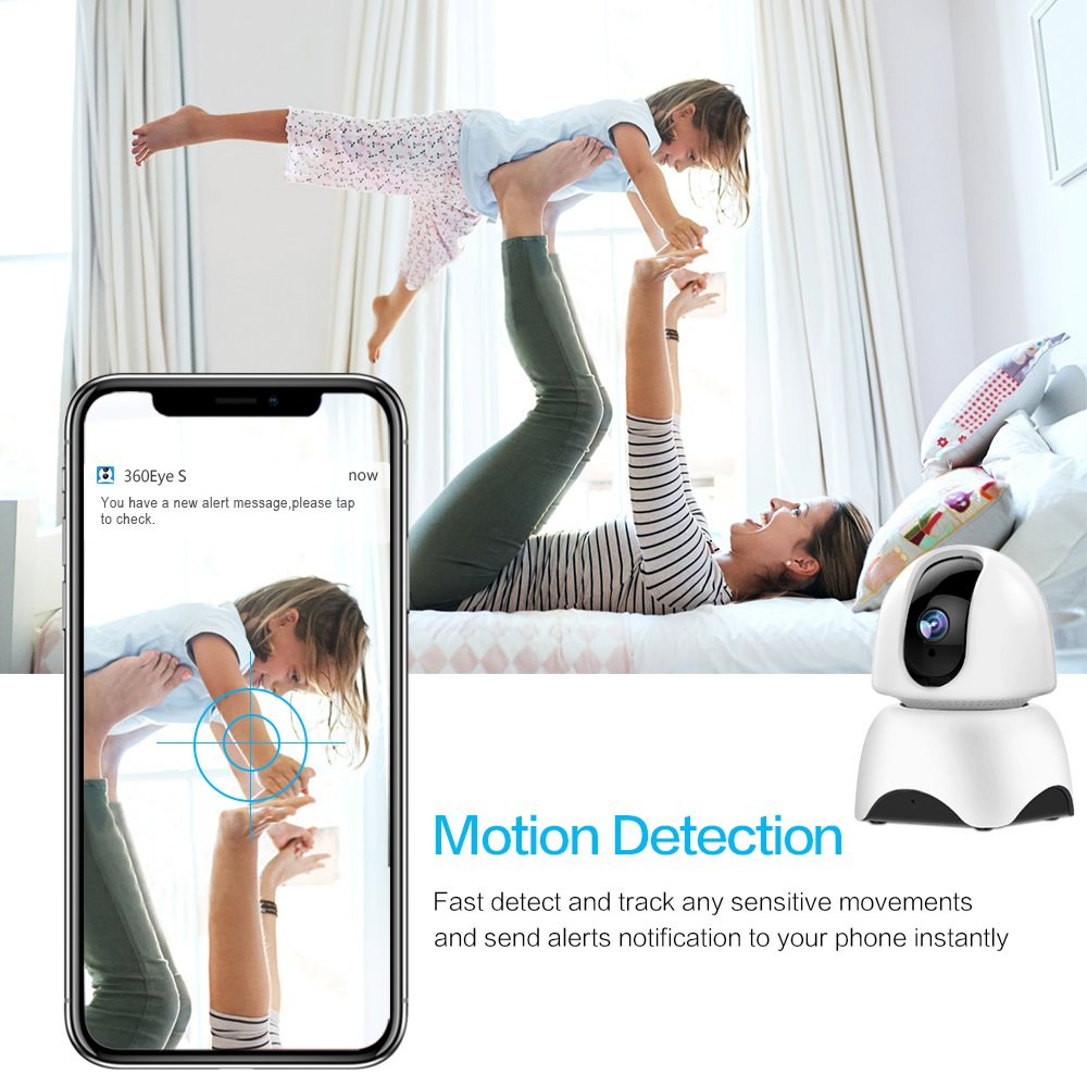 1080P Wireless IP Camera, 360 Home WiFi Security Camera Indoor Surveillance Camera System Panorama View for Pet/Baby Monitor Remote Viewer Nanny Cam with Pan/Tilt, Two-Way Audio & Night Vision by SHome (Image #3)