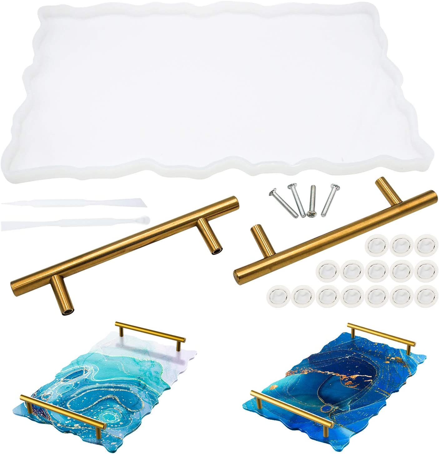 Silicone Resin Tray Molds Thrilez 1Pcs Resin Tray Molds and 4 Pcs Coaster Molds for Resin Casting with 2pcs Gold Handles
