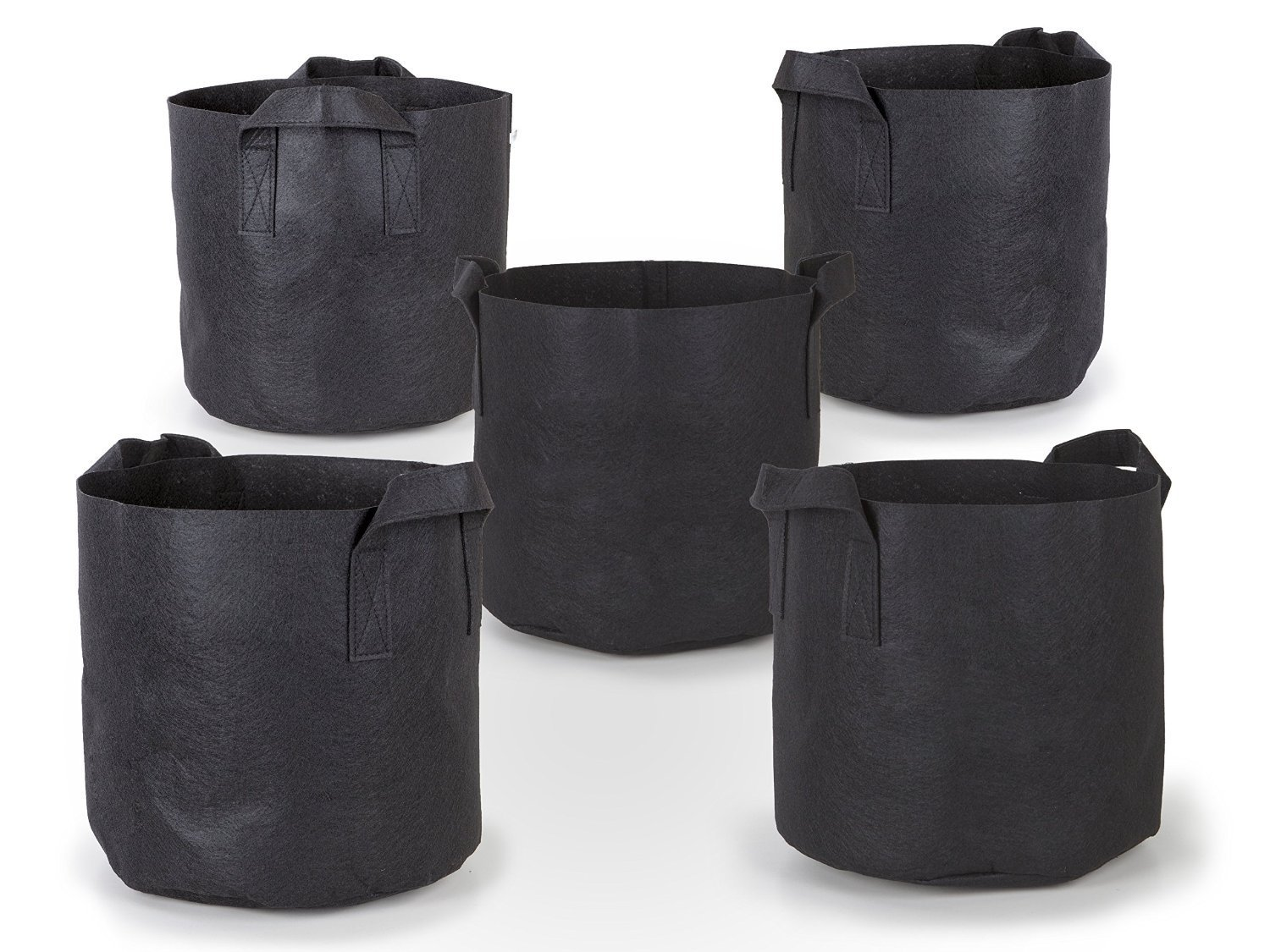 247Garden 5-Pack 5 Gallon Grow Bags /Aeration Fabric Pots w/Handles (Black)