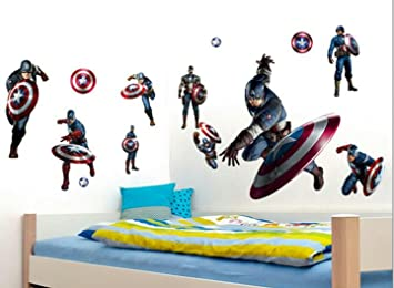 Amazon Com 3d Captain America Iron Man Kids Room Decor Wall Sticker