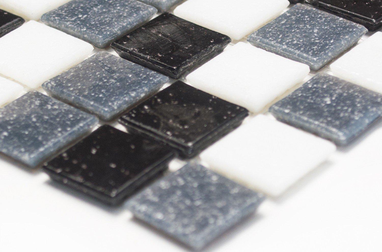 Mosaico effetto mosaico piastrelle quadrato mix bianco//grigio//nero mosaico di vetro di rete con Spots piastrelle specchio da parete cucina bagno WC