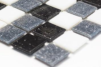 Mosaico effetto mosaico piastrelle quadrato mix bianco grigio nero