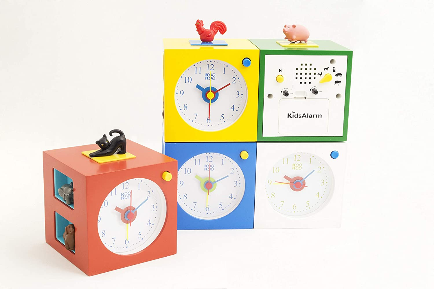 natural field recordings MDF wood cabinet; KOOKOO KidsAlarm green alarm clock for children including 5 farm animals and their wake-up calls