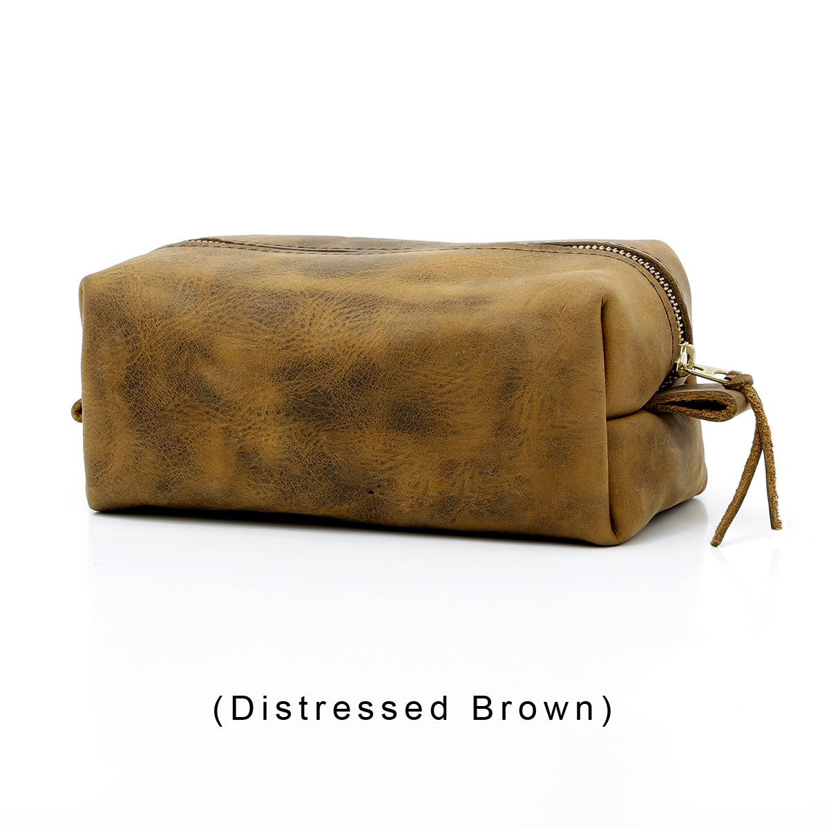 Personalized Leather Toiletry Bag, Dopp Kit, Leather Shaving Kit, Groomsmen, Father's Day Gift, Travel Shaving Bag (Large -NO Personalization, Distressed Brown)