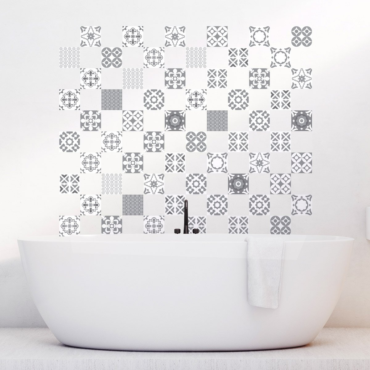 60Adhesive Tile Stickers For Bathroom and Kitchen Tiles, Mosaic, Artistic, Shades Of Grey, 10 x 10 cm, 60 Items. Ambiance-Live
