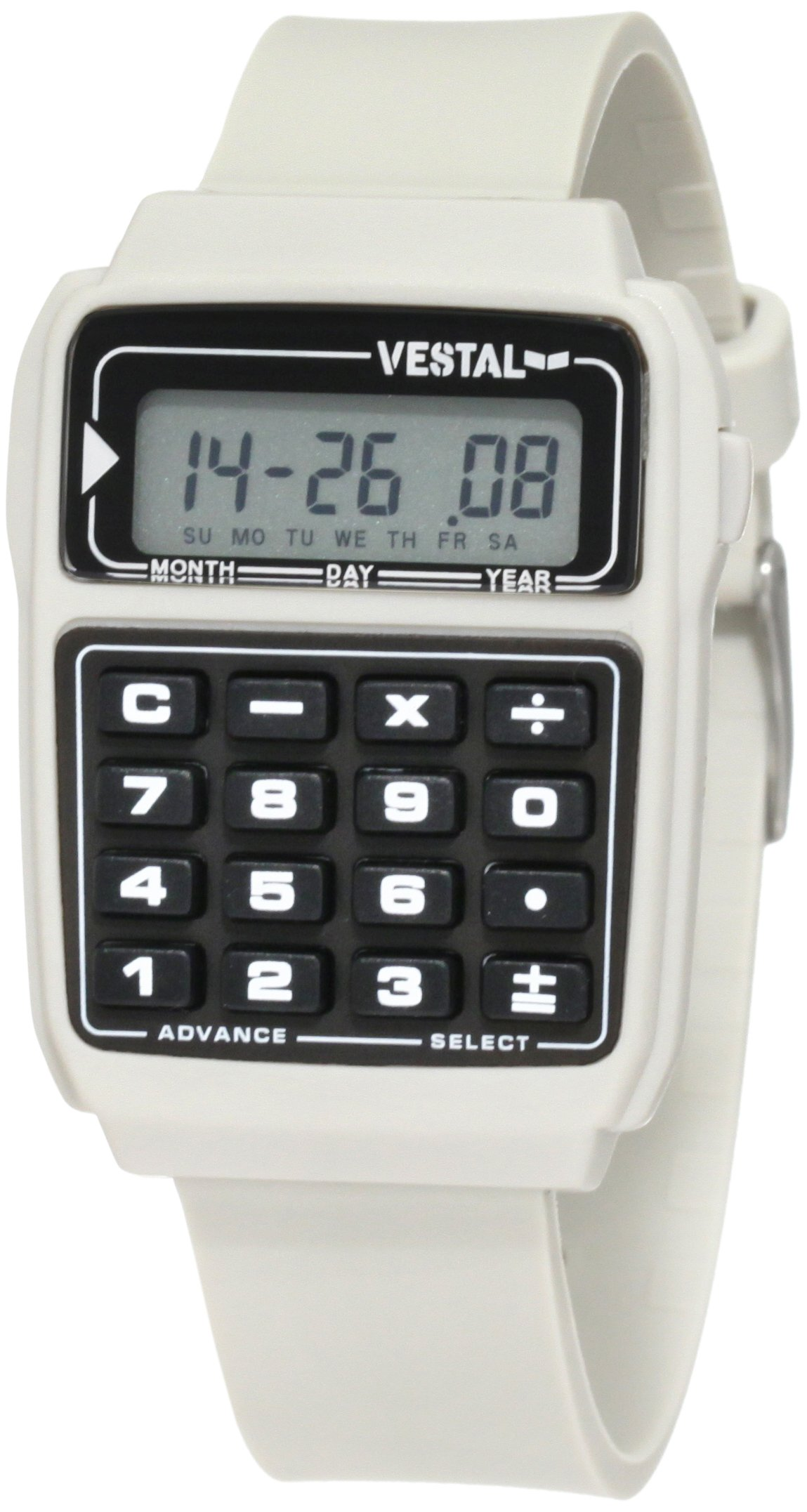Vestal Men's Datamat Japanese-Quartz Polyurethane Strap, Silver, 18 Casual Watch (Model: DAT010) by Vestal