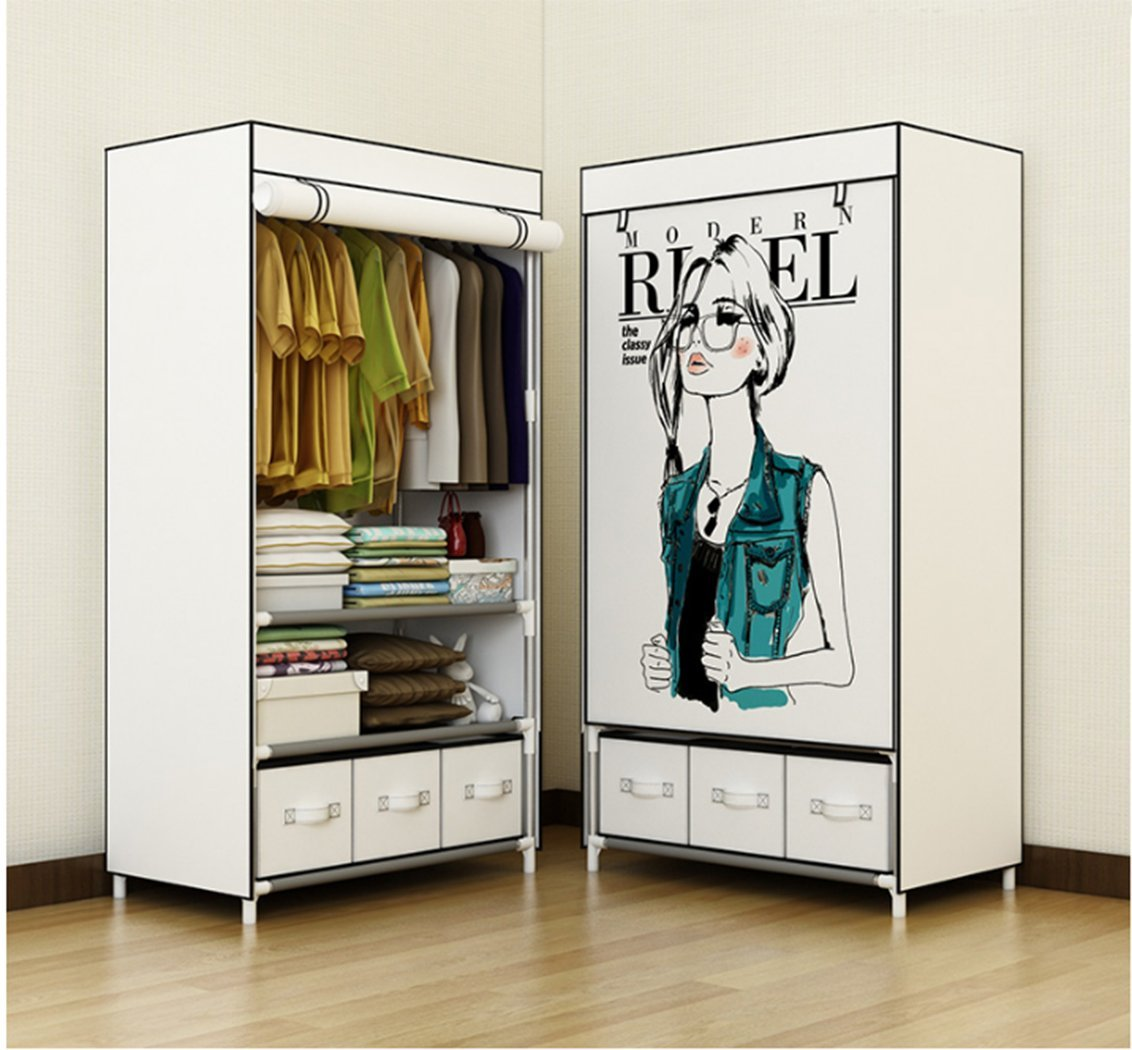 Merveilleux ASSICA Portable Clothes Closet For Girls Rolling Door Wardrobe Sturdy  Rust Proof Stainless Steel Frame Non Woven Fabric Storage Organizer With  Three Drawer ...