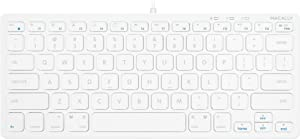 Macally USB Mini Keyboard for Mac and Windows PC - 78 Scissor Switch Keys with 13 Shortcut Keys - Compact & Small Keyboard that Saves Spaces and Looks Great - Plug and Play Mac Keyboard - White