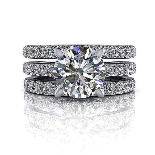 1510d6d2b2b 14K Solid White Gold Ring 2.55 Ct Solitaire Rings VVS Diamond ...