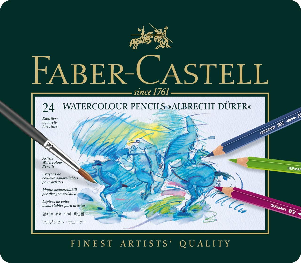 Faber-Castel FC117524 Albrecht Durer Artist Watercolor Pencils In A Tin (24 Pack), Assorted FABER CASTELL F117524 reikos_0019522742AM_0000451