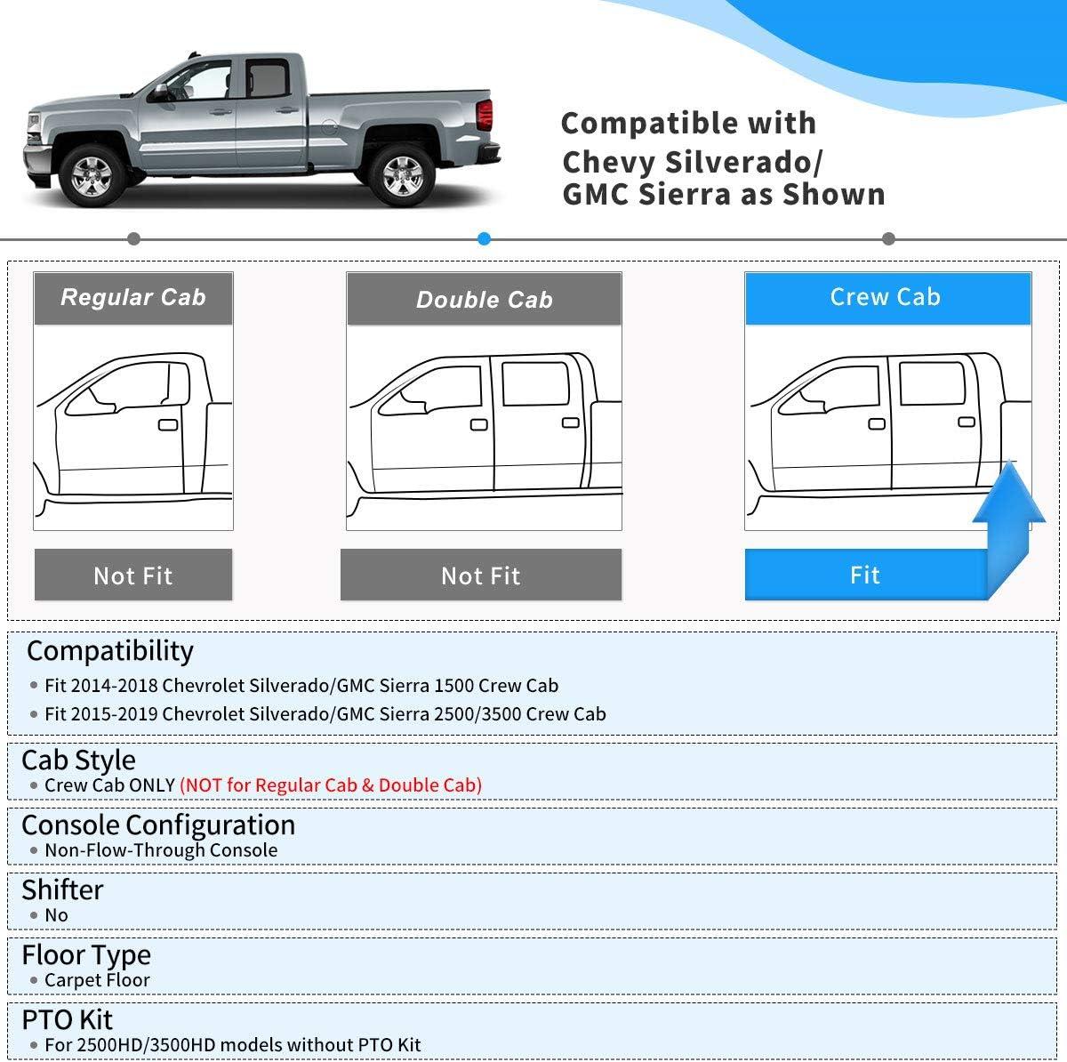 oEdRo Floor Mats Fit 2014-2018 Chevy Silverado//GMC Sierra 1500 Crew Cab Black TPE All Weather 2 Row Floor Liner Set Front /& 2nd Seat / 2015-2019 Silverado//Sierra 2500 HD//3500 HD Crew Cab
