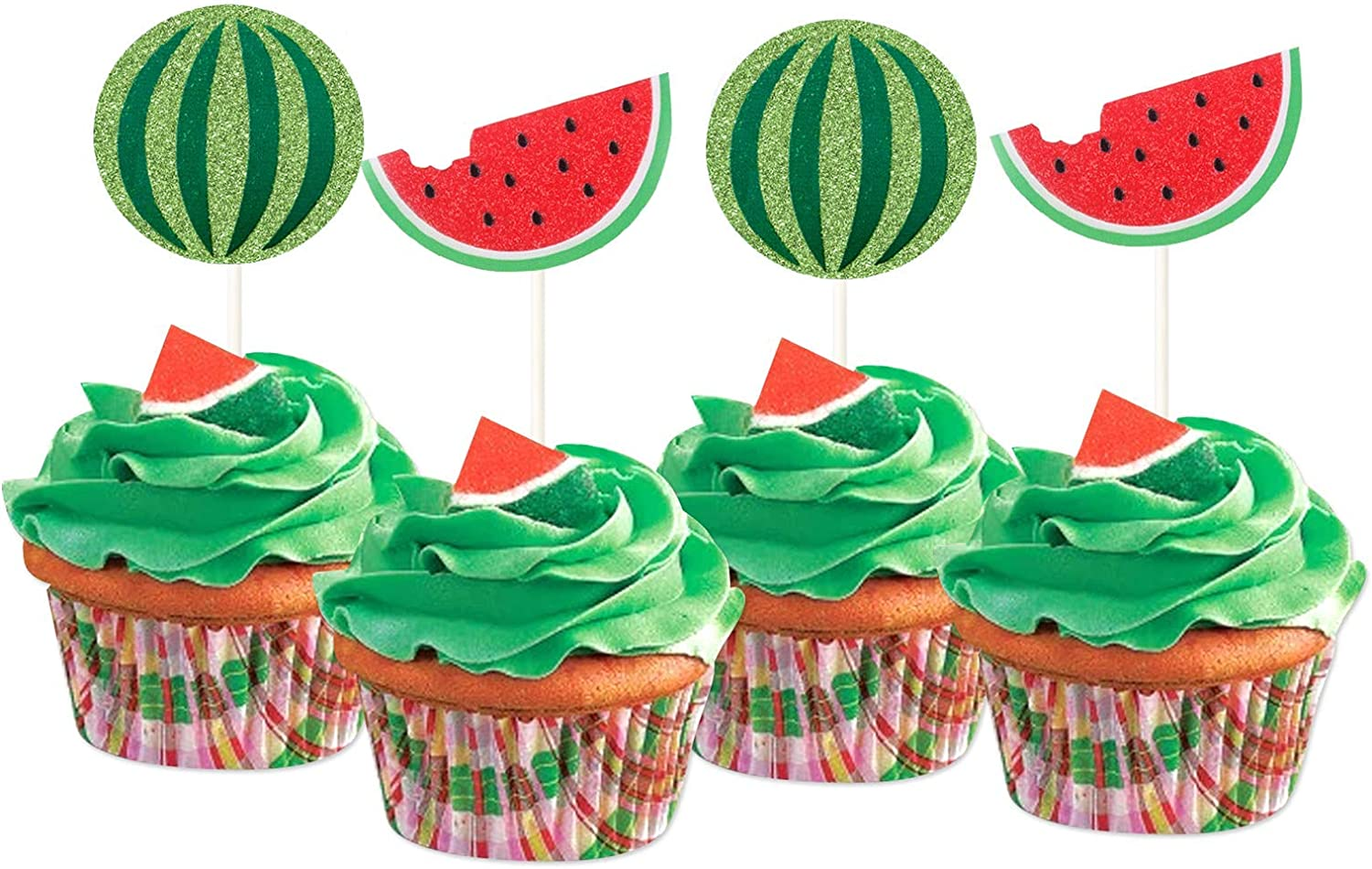 24Pcs Glitter Watermelon Cupcake Toppers Fruits Theme Party Dessert Cupcake Picks for Summer Birthday Baby Shower, One in a Melon First Birthday, Tropical Party Decoration Supplies