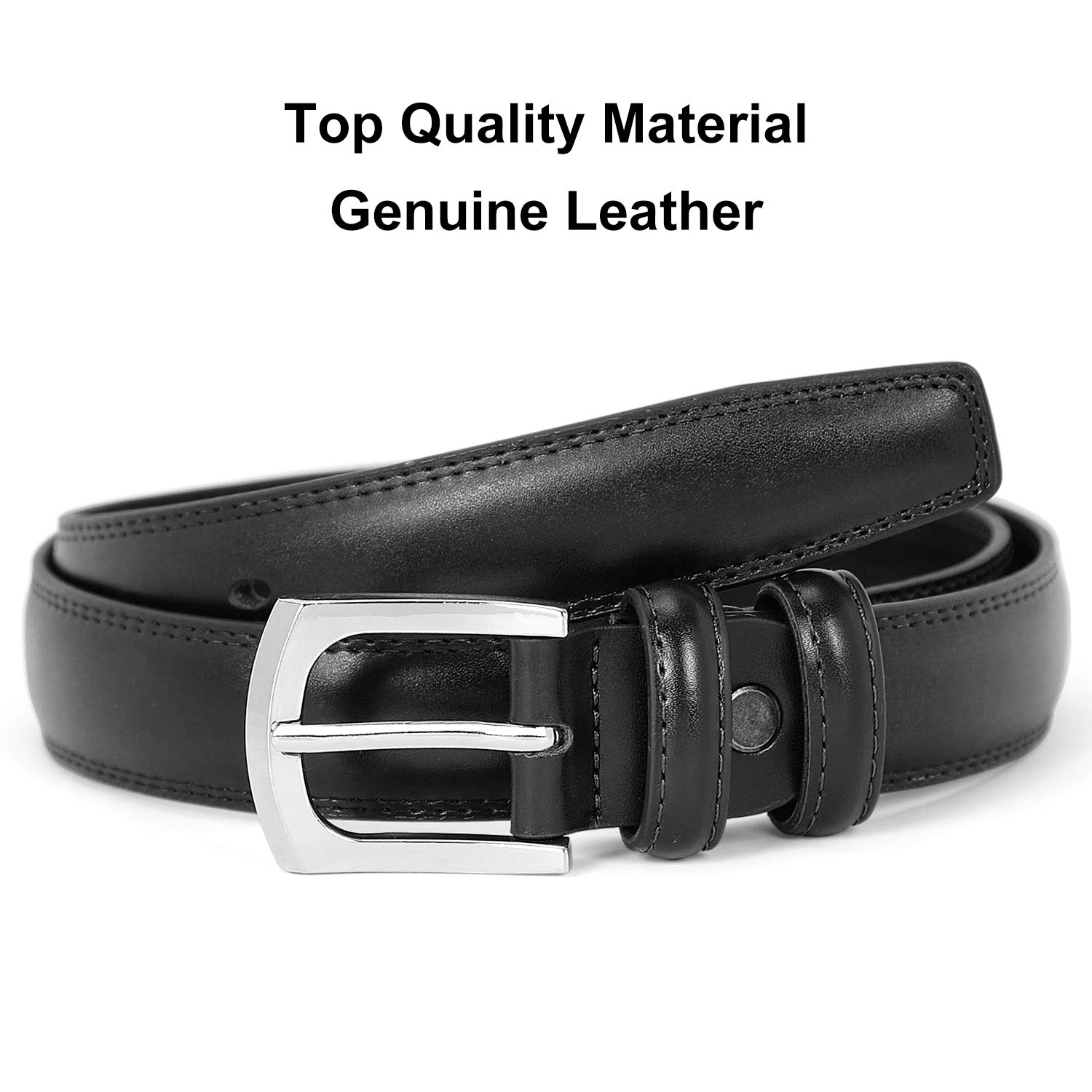 JASGOOD Men\'s Belt, Genuine Leather Dress Belt with Prong Buckle Classic Casual Belt (1-Black, Suit for Waist Size 39-43 Inches)