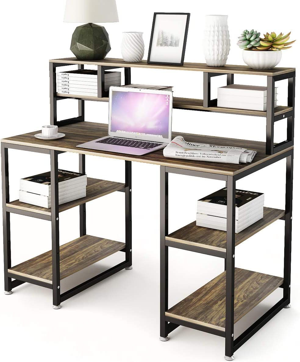 Computer Desk with Hutch DEWEL 47 Office Desk Gaming Table Writing Study Table Workstation with 2 Storage Bookshelf for Home Office
