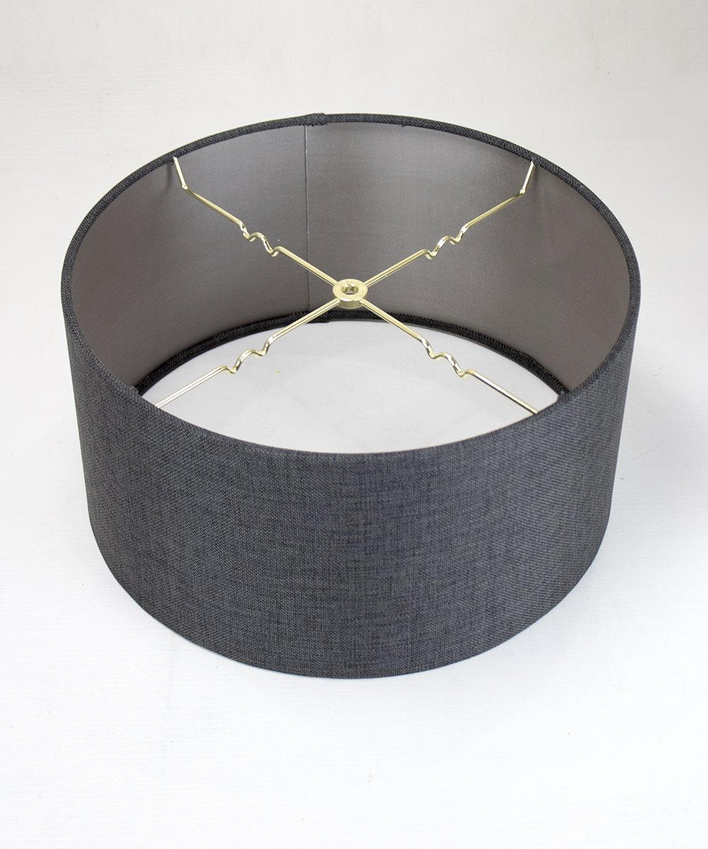 16x16x8 Granite Grey Burlap Hardback Drum Lampshade by Home Concept - Perfect for Floor or Larger Table Lamps - Pair with a Swag Cord for an Easy Pendant