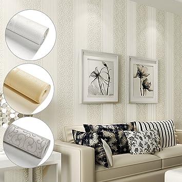 KINLO® Vliestapete Wand Dunkle Weiss 10Mx53cm Top Tapete Barock Tapete  Muster Tapete Streifen Wanddeko für Wohnzimmer, Schlafzimmer, Büro  Wandtatoo ...
