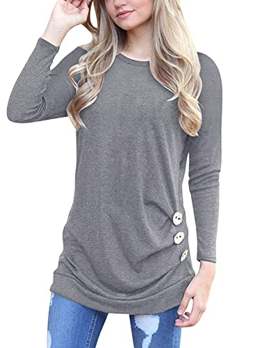 ONLYSHE Women Long Sleeve T-Shirt Loose Solid Color Round Neck Tunic Top Blouse Grey XX-Large