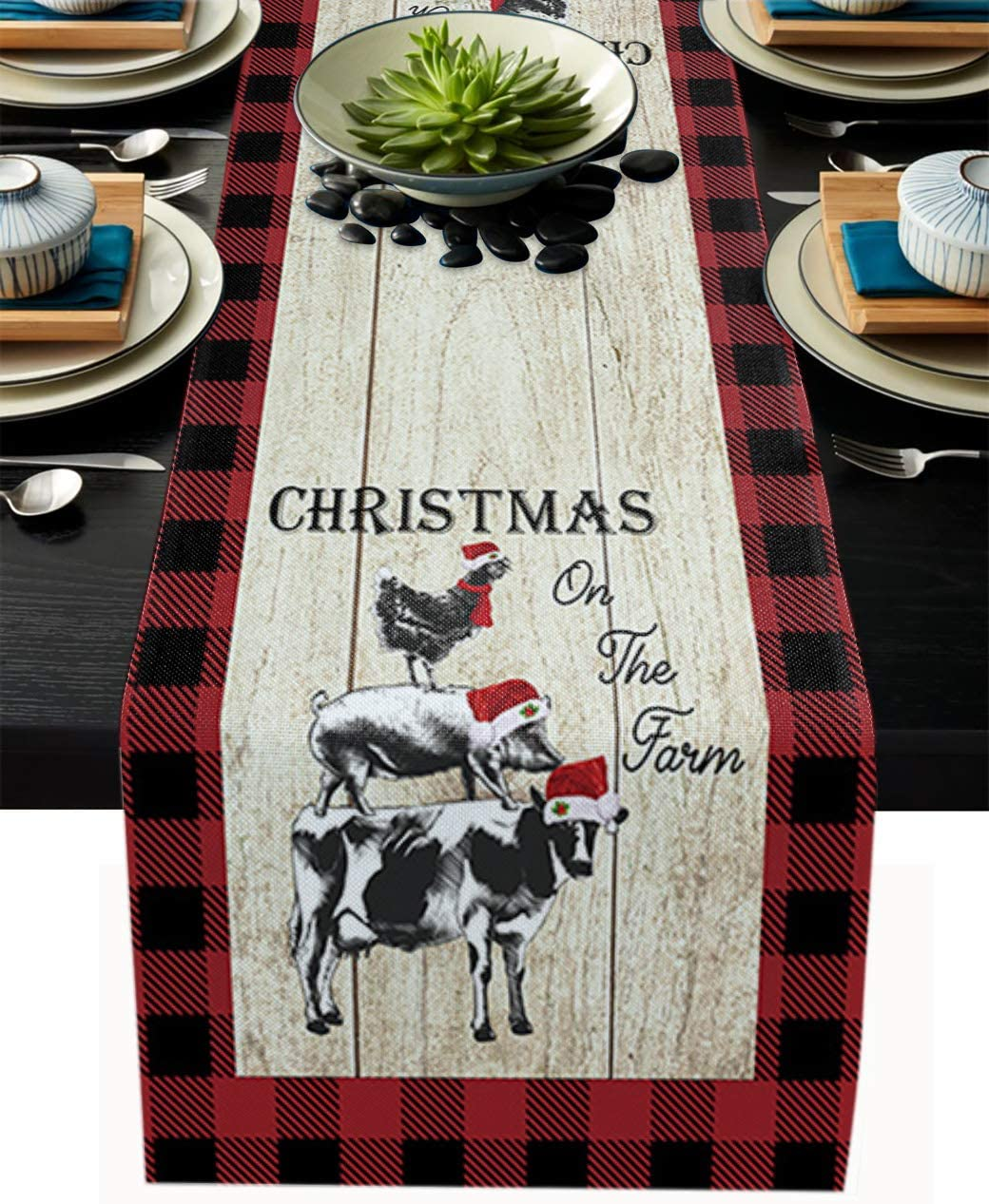 Christmas Farm Animal Table Runner for Farmhouse Holiday Parties, Burlap Table Runner Dresser Scarves Cow Pig Chicken Rustic Wood Planks Buffalo Check Plaid Dining Table Decor, 13 x 90 Inch