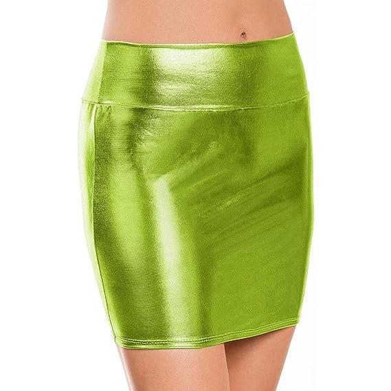 LHWY-Falda Falda De Cuero Paquete Cadera Mujer Mini Color SóLido ...